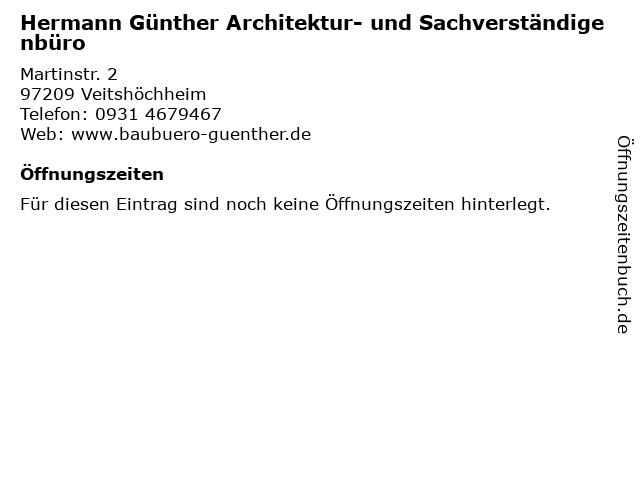Hermann Günther Architektur- und Sachverständigenbüro in Veitshöchheim: Adresse und Öffnungszeiten