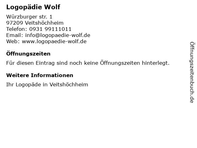 Logopädie Wolf in Veitshöchheim: Adresse und Öffnungszeiten