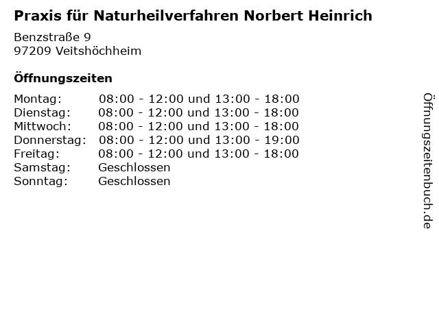 Praxis für Naturheilverfahren Norbert Heinrich in Veitshöchheim: Adresse und Öffnungszeiten