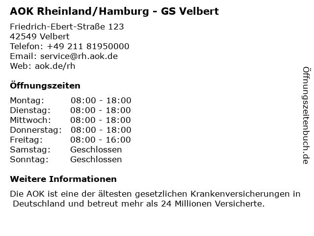 AOK Rheinland/Hamburg - GS Velbert in Velbert: Adresse und Öffnungszeiten