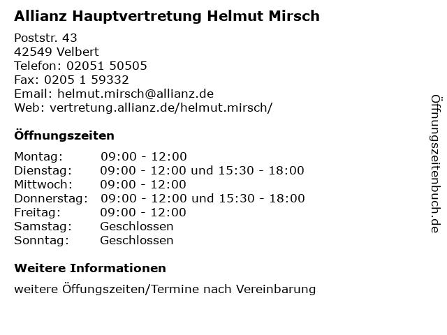 Allianz Hauptvertretung Helmut Mirsch in Velbert: Adresse und Öffnungszeiten