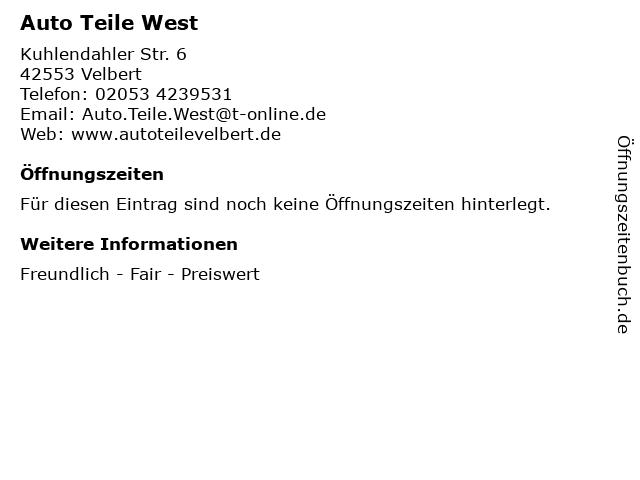 Auto Teile West in Velbert: Adresse und Öffnungszeiten