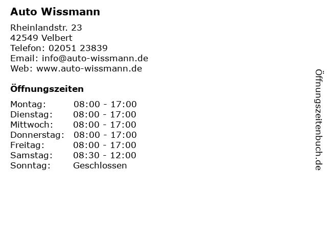 Auto Wissmann GmbH in Velbert: Adresse und Öffnungszeiten