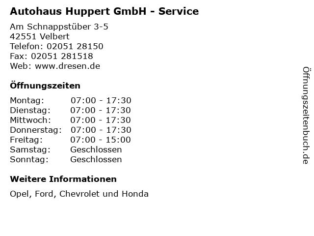 Autohaus Huppert GmbH - Service in Velbert: Adresse und Öffnungszeiten