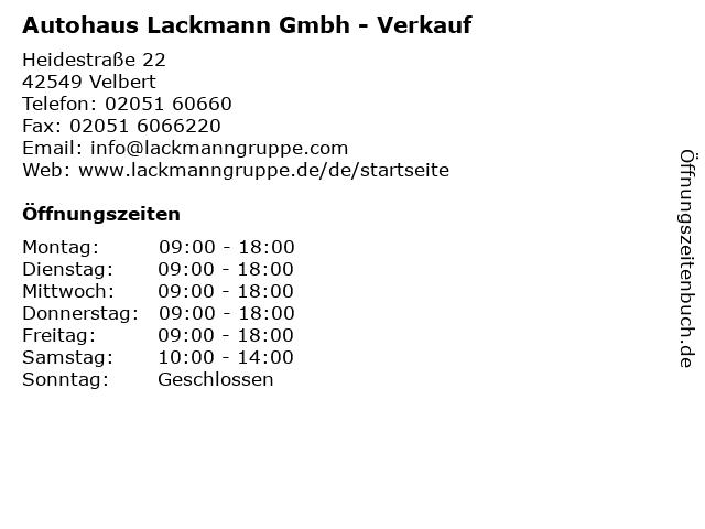 Autohaus Lackmann Gmbh - Verkauf in Velbert: Adresse und Öffnungszeiten