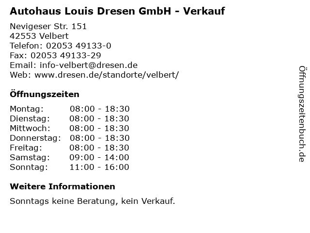 Autohaus Louis Dresen GmbH - Verkauf in Velbert: Adresse und Öffnungszeiten