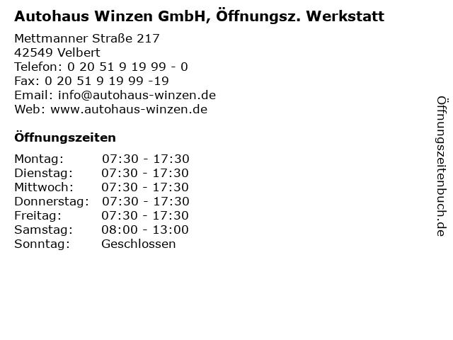 Autohaus Winzen GmbH, Öffnungsz. Werkstatt in Velbert: Adresse und Öffnungszeiten
