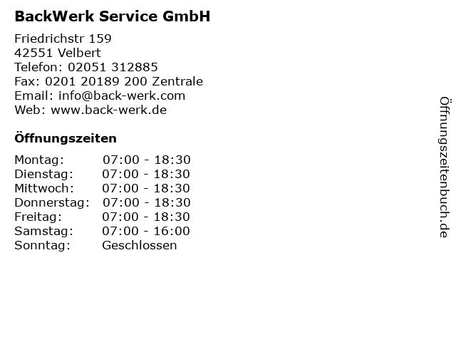 BackWerk Service GmbH in Velbert: Adresse und Öffnungszeiten