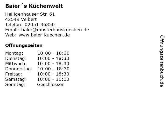 ᐅ Offnungszeiten Baier S Kuchenwelt Gmbh Heiligenhauser Str 61