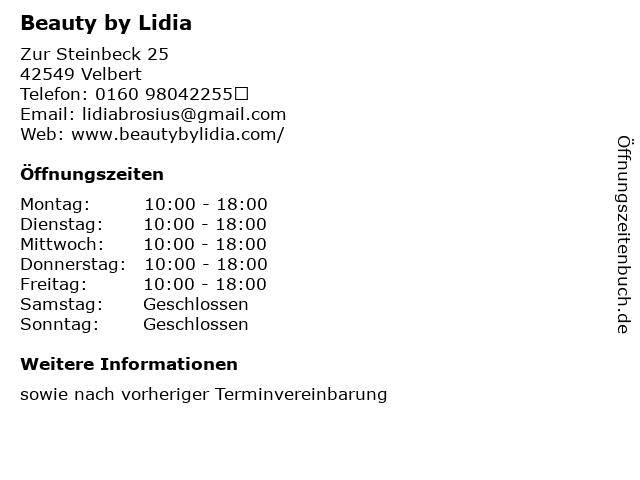 Beauty by Lidia in Velbert: Adresse und Öffnungszeiten