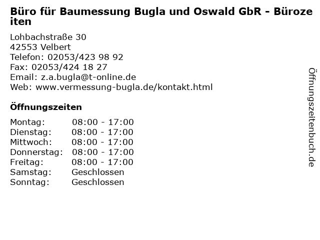 Büro für Baumessung Bugla und Oswald GbR - Bürozeiten in Velbert: Adresse und Öffnungszeiten