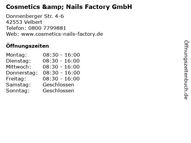 Cosmetics & Nails Factory GmbH in Velbert: Adresse und Öffnungszeiten