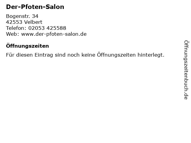 Der-Pfoten-Salon in Velbert: Adresse und Öffnungszeiten