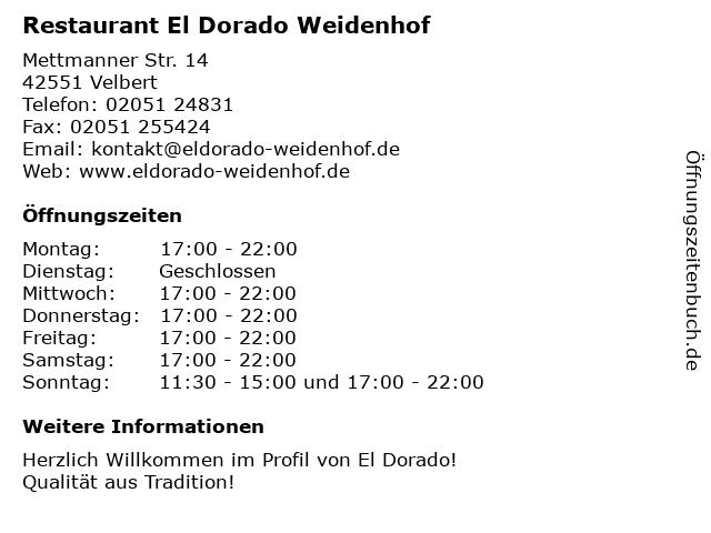 El Dorado in Velbert: Adresse und Öffnungszeiten