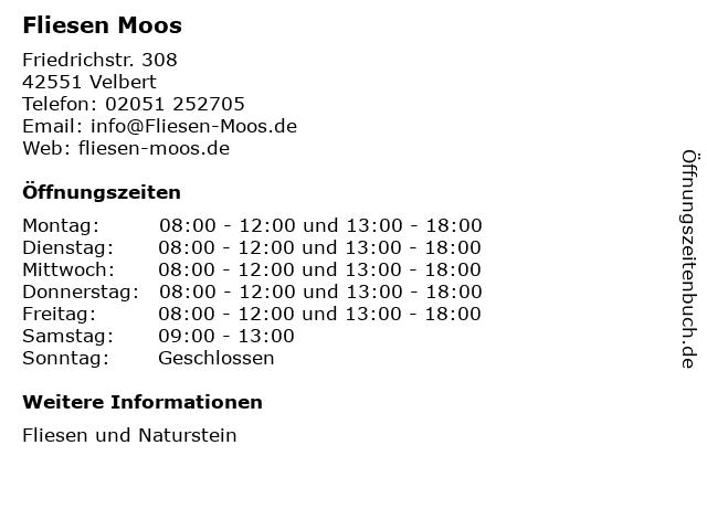 """ᐅ Öffnungszeiten """"Moos Ernst GmbH Fliesenfachgeschäft ..."""