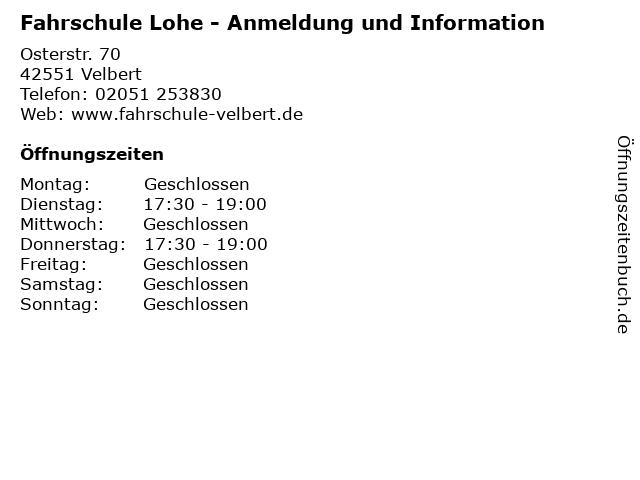 Fahrschule Lohe - Anmeldung und Information in Velbert: Adresse und Öffnungszeiten