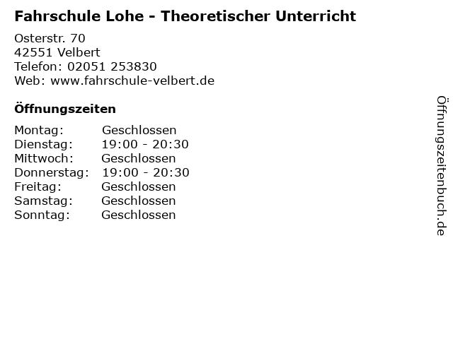 Fahrschule Lohe - Theoretischer Unterricht in Velbert: Adresse und Öffnungszeiten