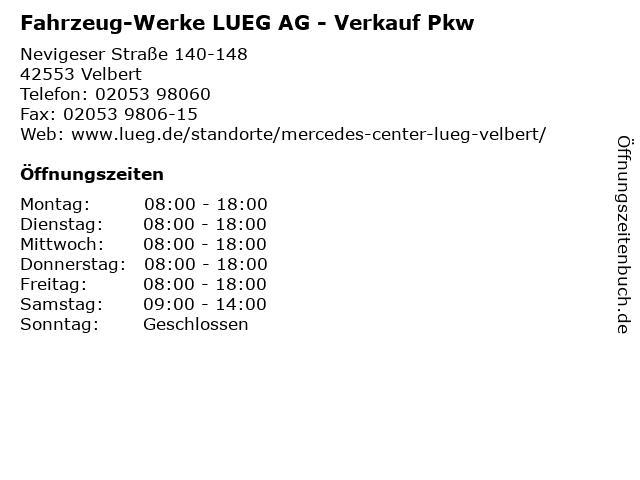 Fahrzeug-Werke LUEG AG - Verkauf Pkw in Velbert: Adresse und Öffnungszeiten