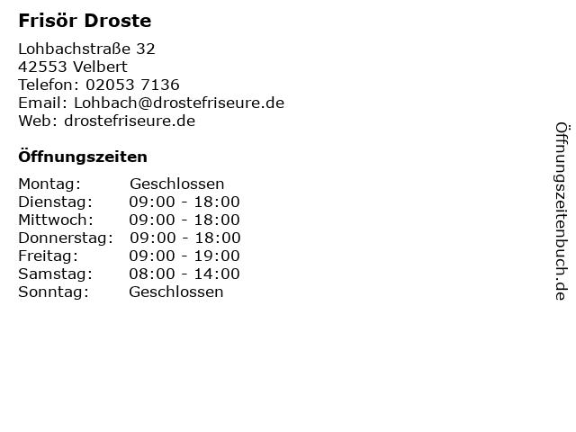 Frisör Droste in Velbert: Adresse und Öffnungszeiten