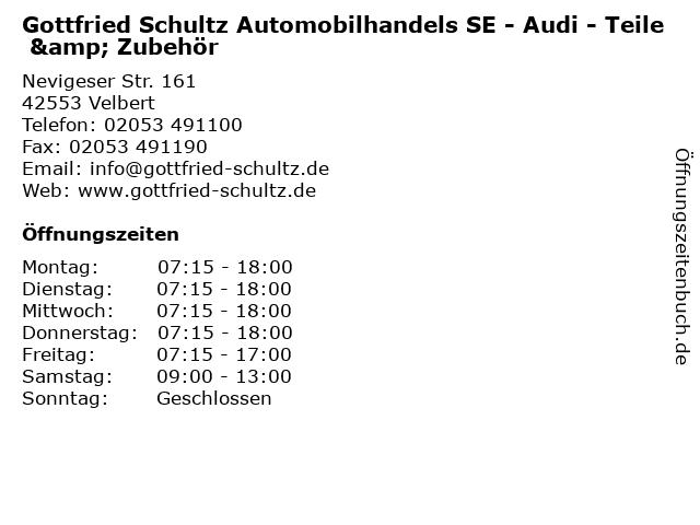 Gottfried Schultz Automobilhandels SE - Audi - Teile & Zubehör in Velbert: Adresse und Öffnungszeiten