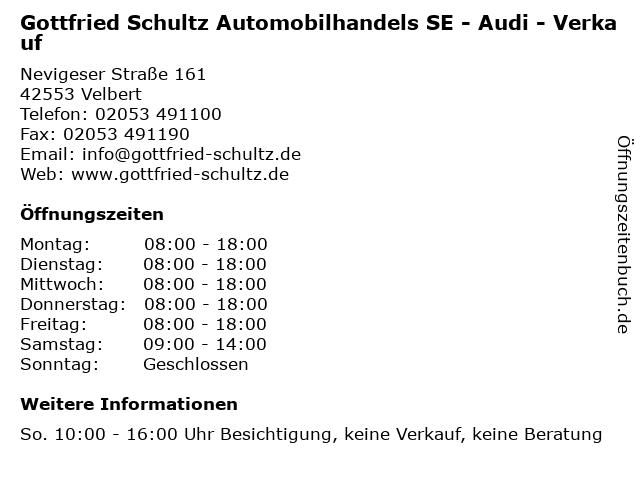 Gottfried Schultz Automobilhandels SE - Audi - Verkauf in Velbert: Adresse und Öffnungszeiten