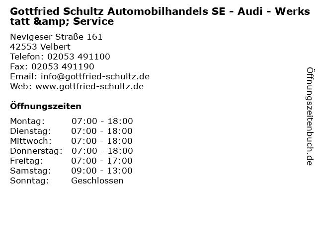 Gottfried Schultz Automobilhandels SE - Audi - Werkstatt & Service in Velbert: Adresse und Öffnungszeiten
