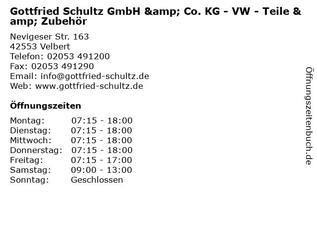 Gottfried Schultz GmbH & Co. KG - VW - Teile & Zubehör in Velbert: Adresse und Öffnungszeiten