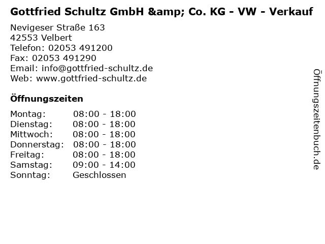 Gottfried Schultz GmbH & Co. KG - VW - Verkauf in Velbert: Adresse und Öffnungszeiten