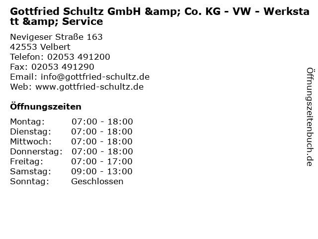 Gottfried Schultz GmbH & Co. KG - VW - Werkstatt & Service in Velbert: Adresse und Öffnungszeiten