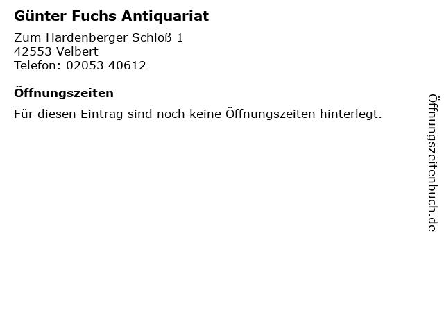 Günter Fuchs Antiquariat in Velbert: Adresse und Öffnungszeiten