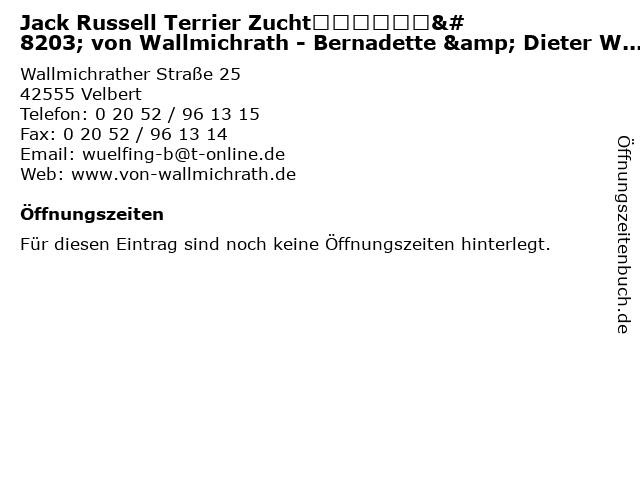 Jack Russell Terrier Zucht von Wallmichrath - Bernadette & Dieter Wülfing in Velbert: Adresse und Öffnungszeiten