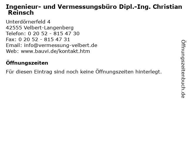 Ingenieur- und Vermessungsbüro Dipl.-Ing. Christian Reinsch in Velbert-Langenberg: Adresse und Öffnungszeiten