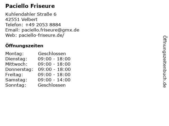 Paciello Friseure in Velbert: Adresse und Öffnungszeiten