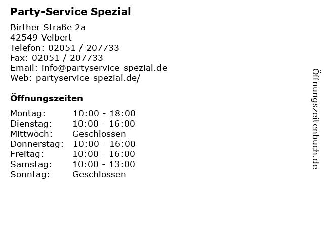 Party-Service Spezial in Velbert: Adresse und Öffnungszeiten
