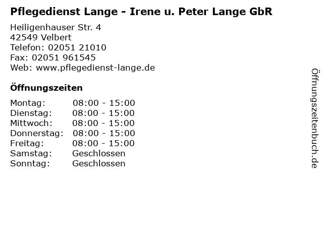 Pflegedienst Lange - Irene u. Peter Lange GbR in Velbert: Adresse und Öffnungszeiten