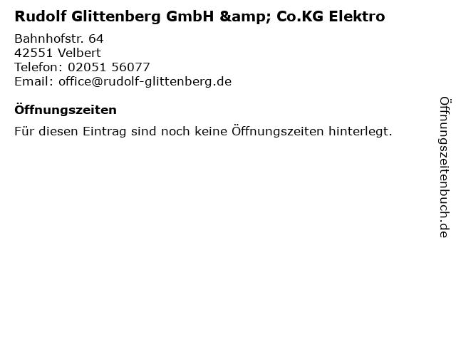 Rudolf Glittenberg GmbH & Co.KG Elektro in Velbert: Adresse und Öffnungszeiten