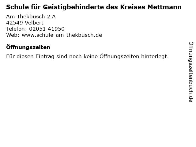 Schule für Geistigbehinderte des Kreises Mettmann in Velbert: Adresse und Öffnungszeiten