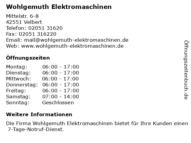 WOHLGEMUTH ELEKTROMASCHINEN in Velbert: Adresse und Öffnungszeiten