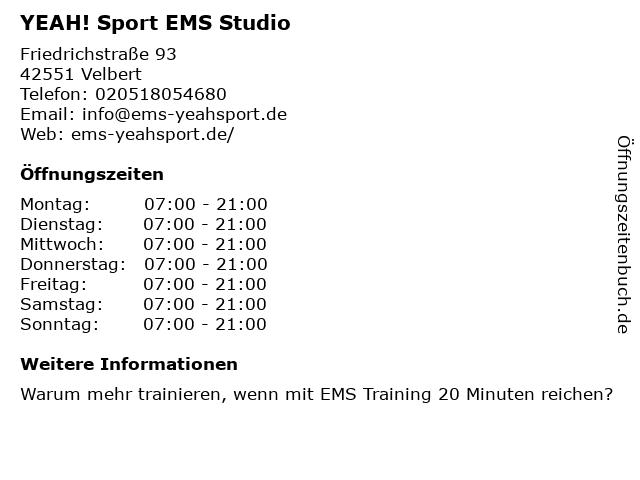 YEAH! Sport EMS Studio in Velbert: Adresse und Öffnungszeiten