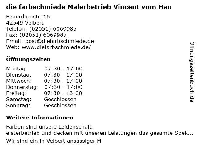 Vincent vom Hau - die farbschmiede in Velbert: Adresse und Öffnungszeiten
