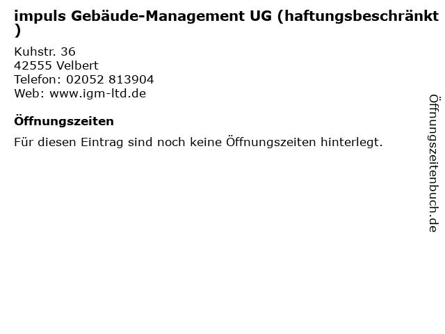impuls Gebäude-Management UG (haftungsbeschränkt) in Velbert: Adresse und Öffnungszeiten