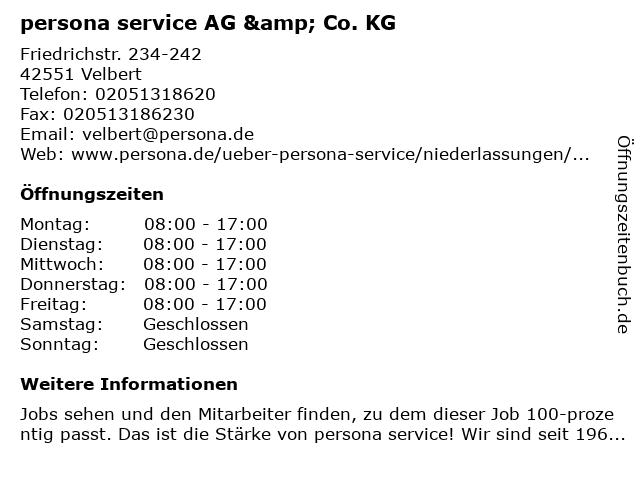 persona service AG & Co. KG in Velbert: Adresse und Öffnungszeiten