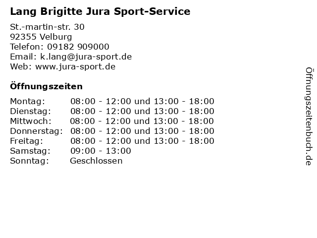 Lang Brigitte Jura Sport-Service in Velburg: Adresse und Öffnungszeiten