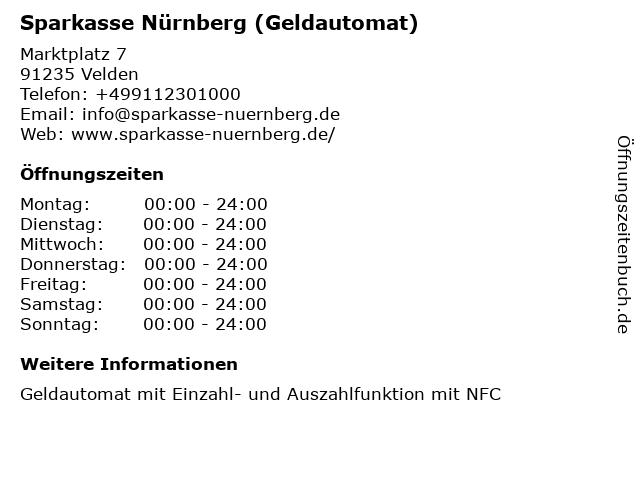 Sparkasse Nürnberg in Velden: Adresse und Öffnungszeiten