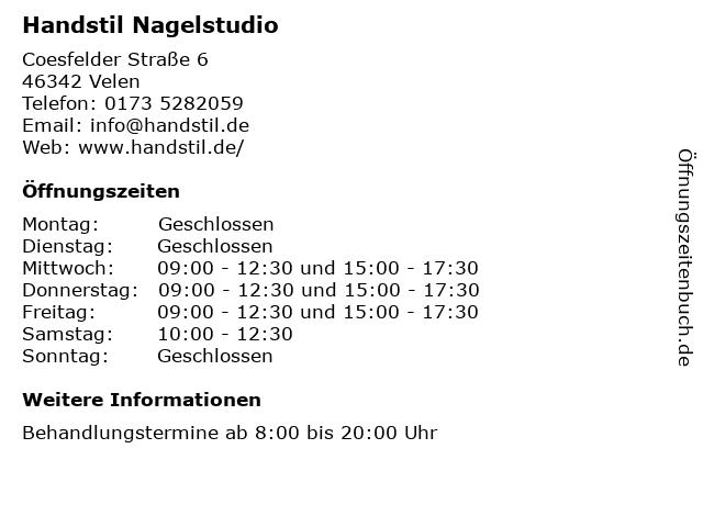 Handstil Nagelstudio in Velen: Adresse und Öffnungszeiten