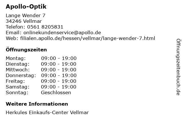 Apollo-Optik in Vellmar: Adresse und Öffnungszeiten