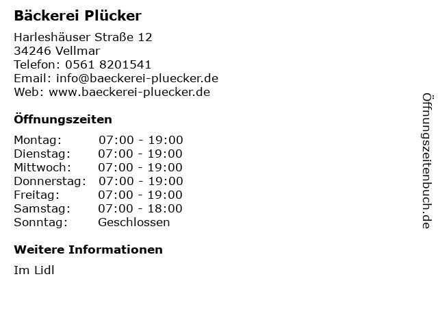 Bäckerei Plücker GmbH & Co. KG in Vellmar: Adresse und Öffnungszeiten