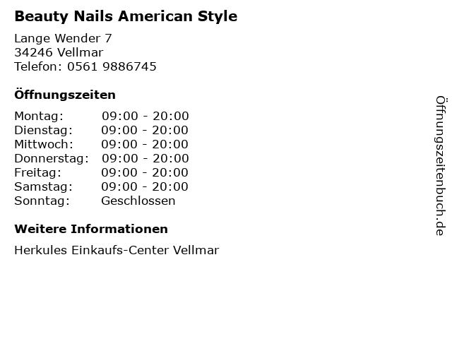 Beauty Nails American Style in Vellmar: Adresse und Öffnungszeiten