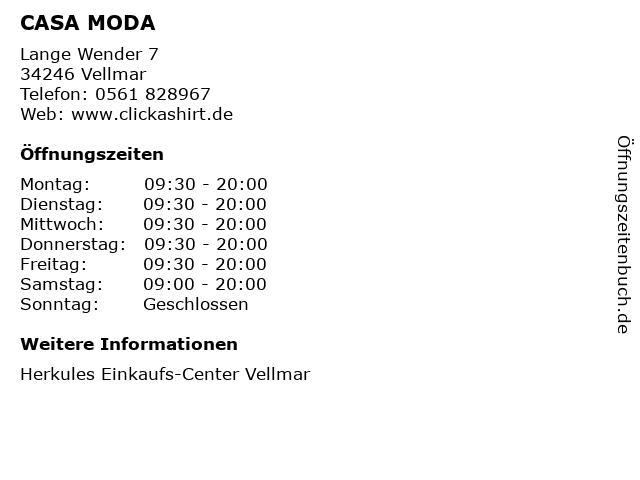 CASA MODA in Vellmar: Adresse und Öffnungszeiten