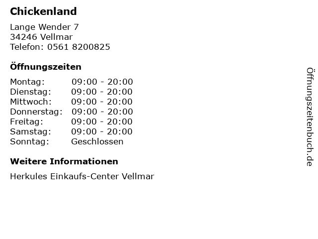 Chickenland in Vellmar: Adresse und Öffnungszeiten